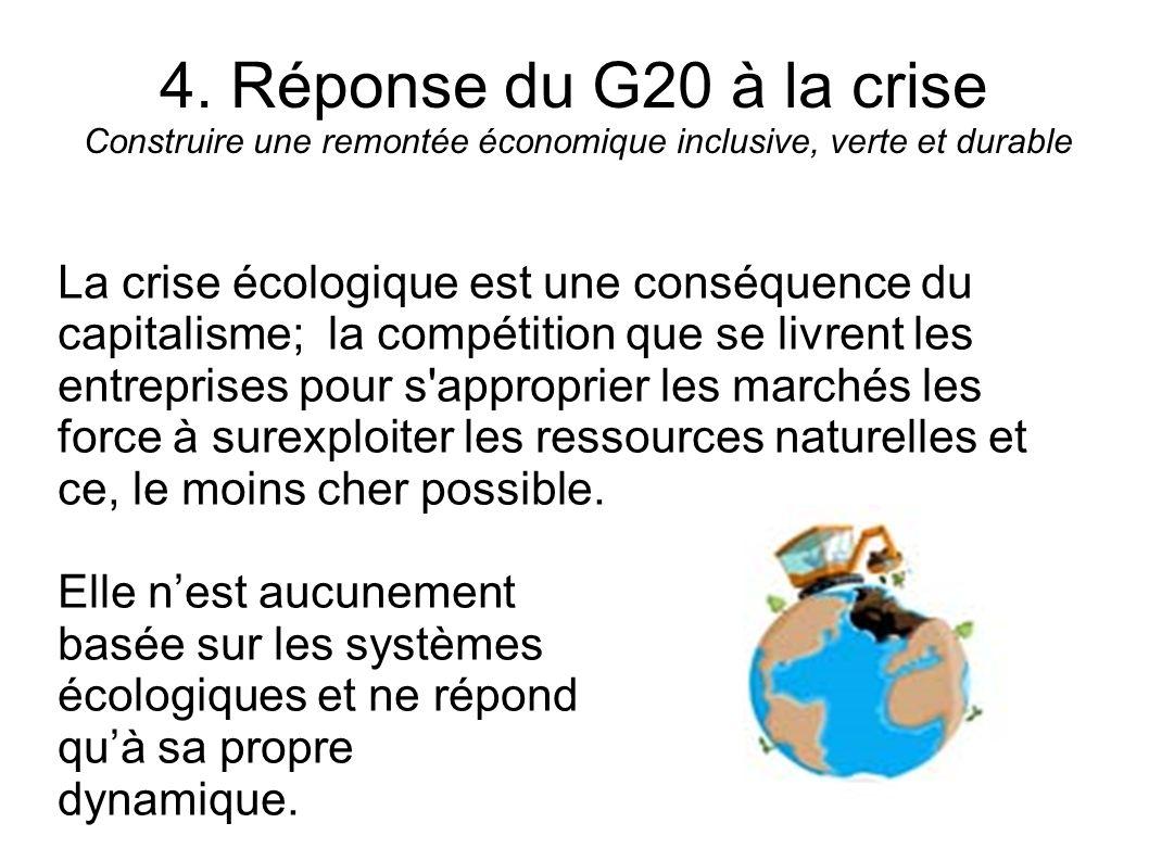 4. Réponse du G20 à la crise Construire une remontée économique inclusive, verte et durable La crise écologique est une conséquence du capitalisme; la