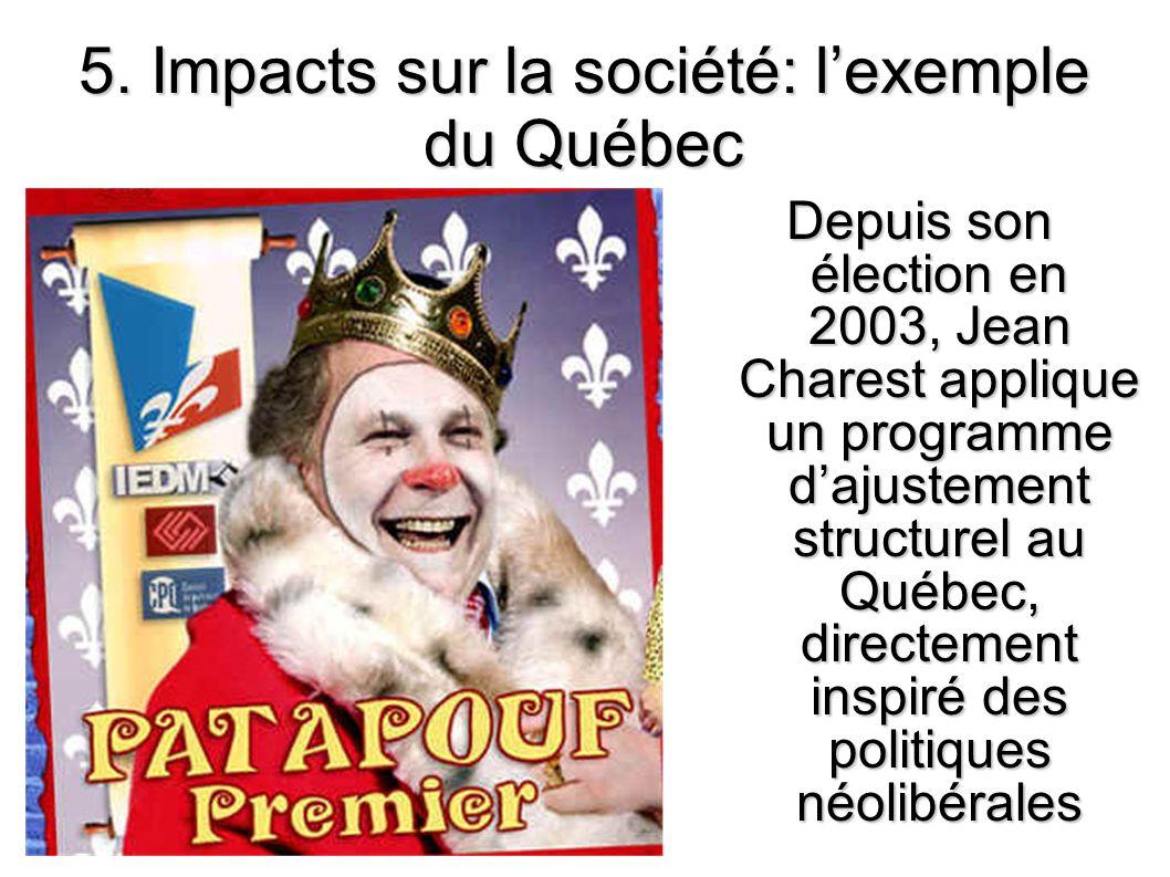 5. Impacts sur la société: lexemple du Québec Depuis son élection en 2003, Jean Charest applique un programme dajustement structurel au Québec, direct