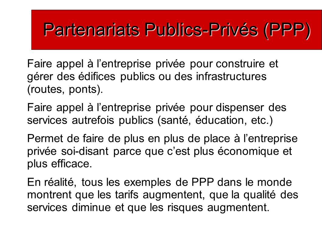 Partenariats Publics-Privés (PPP) Faire appel à lentreprise privée pour construire et gérer des édifices publics ou des infrastructures (routes, ponts