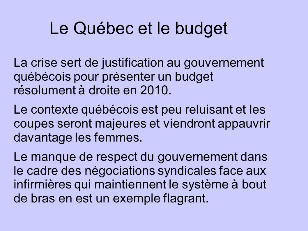 Le Québec et le budget La crise sert de justification au gouvernement québécois pour présenter un budget résolument à droite en 2010. Le contexte québ