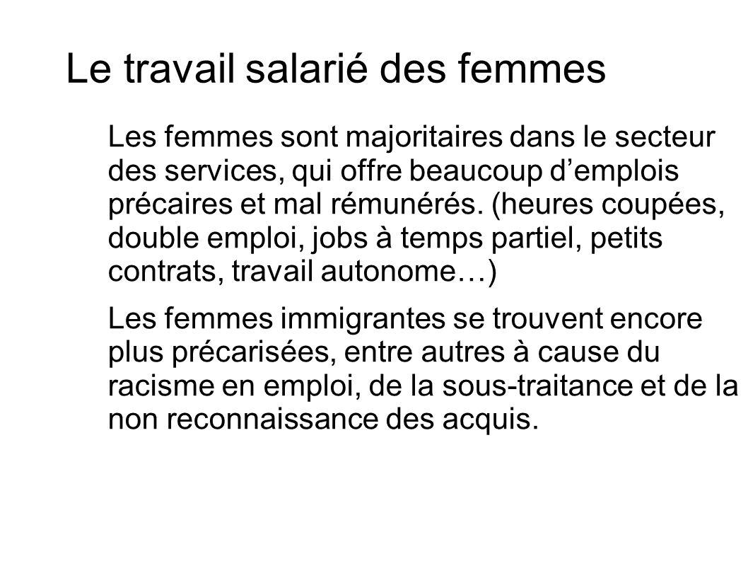 Le travail salarié des femmes Les femmes sont majoritaires dans le secteur des services, qui offre beaucoup demplois précaires et mal rémunérés. (heur