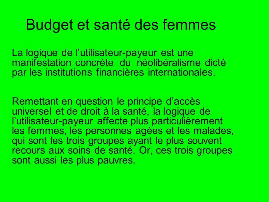 Budget et santé des femmes La logique de lutilisateur-payeur est une manifestation concrète du néolibéralisme dicté par les institutions financières i