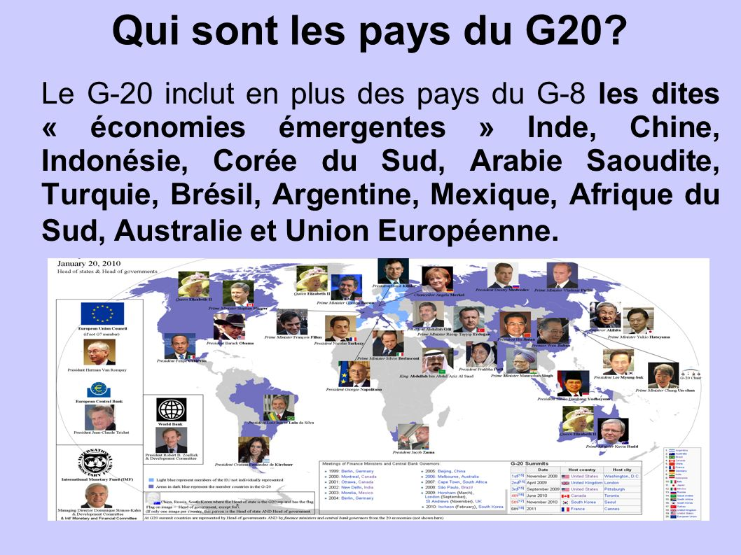 Qui sont les pays du G20? Le G-20 inclut en plus des pays du G-8 les dites « économies émergentes » Inde, Chine, Indonésie, Corée du Sud, Arabie Saoud