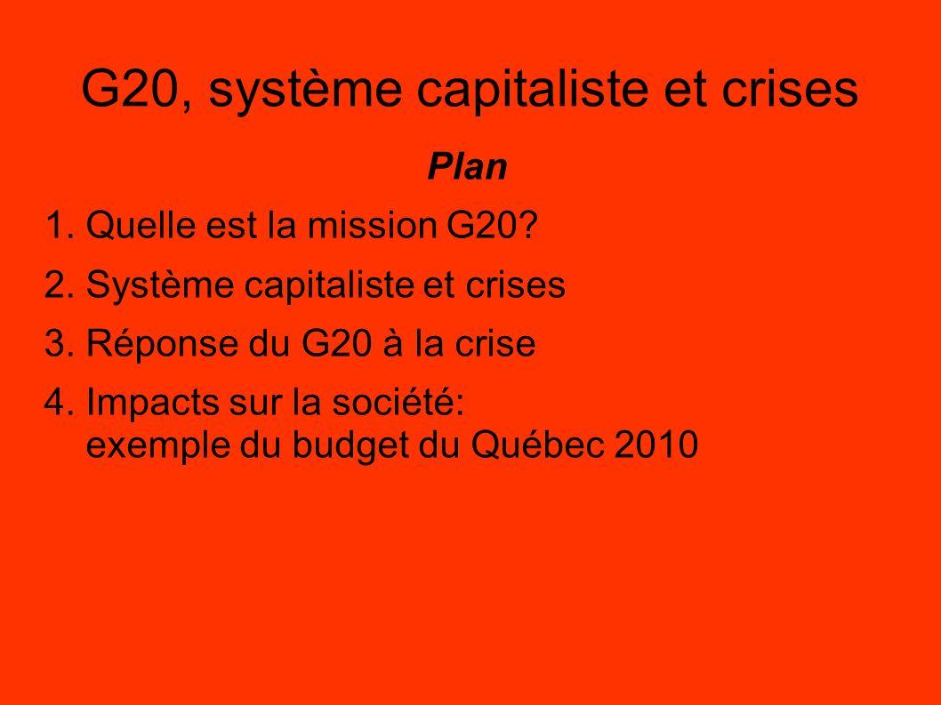 G20, système capitaliste et crises Plan 1. Quelle est la mission G20? 2. Système capitaliste et crises 3. Réponse du G20 à la crise 4. Impacts sur la