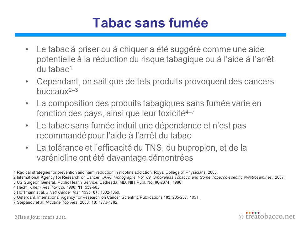 Mise à jour: mars 2011 Tabac sans fumée Le tabac à priser ou à chiquer a été suggéré comme une aide potentielle à la réduction du risque tabagique ou