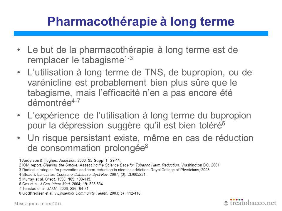 Mise à jour: mars 2011 Pharmacothérapie à long terme Le but de la pharmacothérapie à long terme est de remplacer le tabagisme 1-3 Lutilisation à long