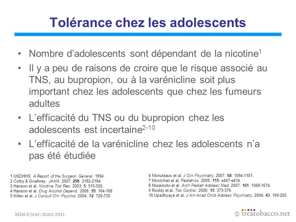 Mise à jour: mars 2011 Tolérance chez les adolescents Nombre dadolescents sont dépendant de la nicotine 1 Il y a peu de raisons de croire que le risqu