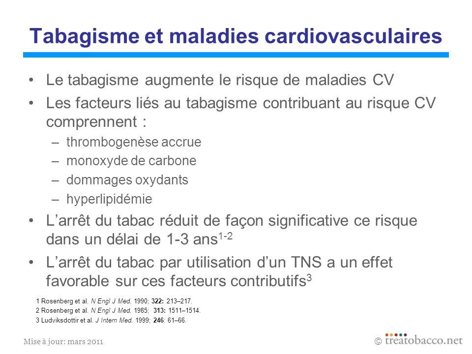Mise à jour: mars 2011 Tabagisme et maladies cardiovasculaires Le tabagisme augmente le risque de maladies CV Les facteurs liés au tabagisme contribua