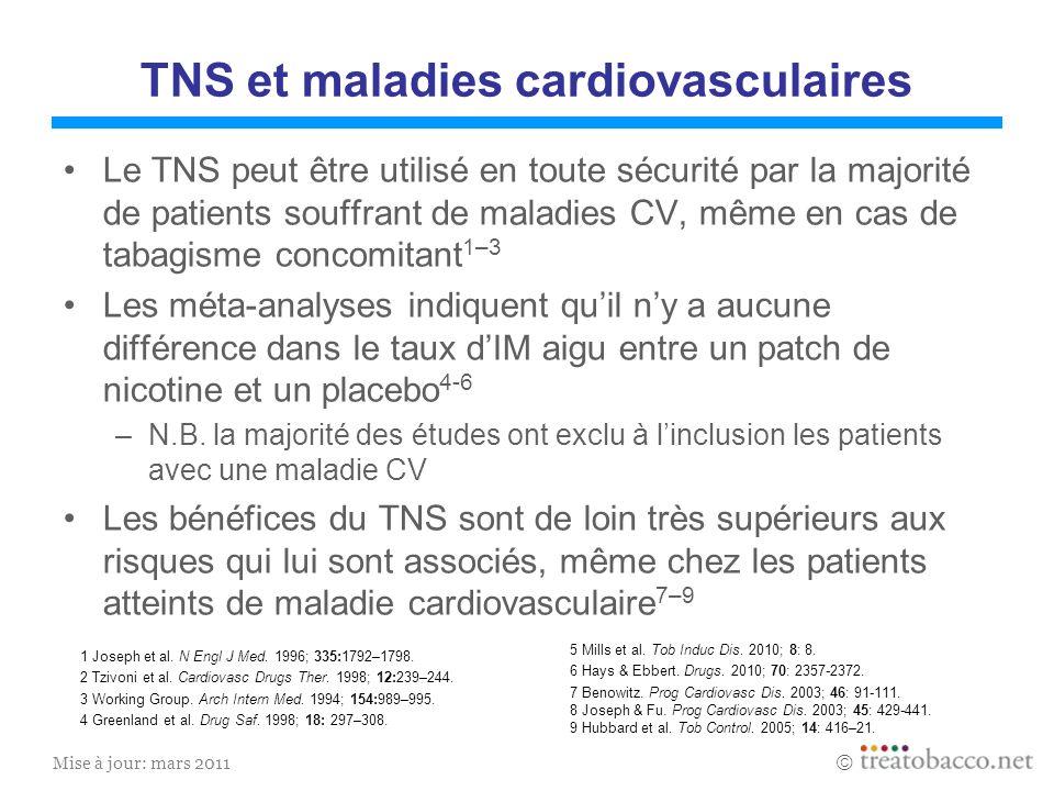 Mise à jour: mars 2011 TNS et maladies cardiovasculaires Le TNS peut être utilisé en toute sécurité par la majorité de patients souffrant de maladies