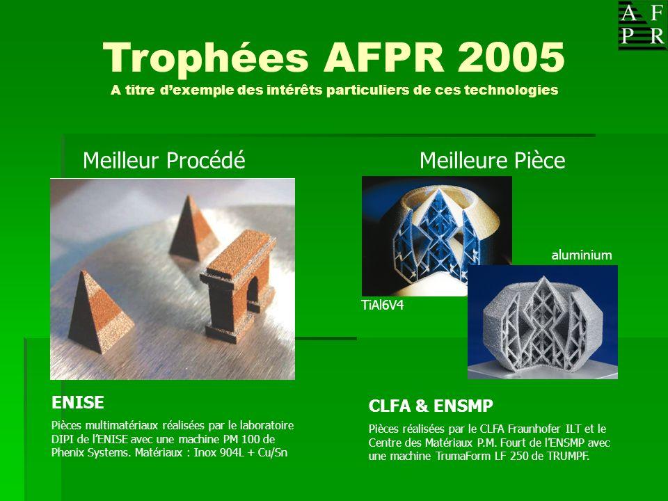 Trophées AFPR 2005 A titre dexemple des intérêts particuliers de ces technologies Meilleure PièceMeilleur Procédé ENISE Pièces multimatériaux réalisée