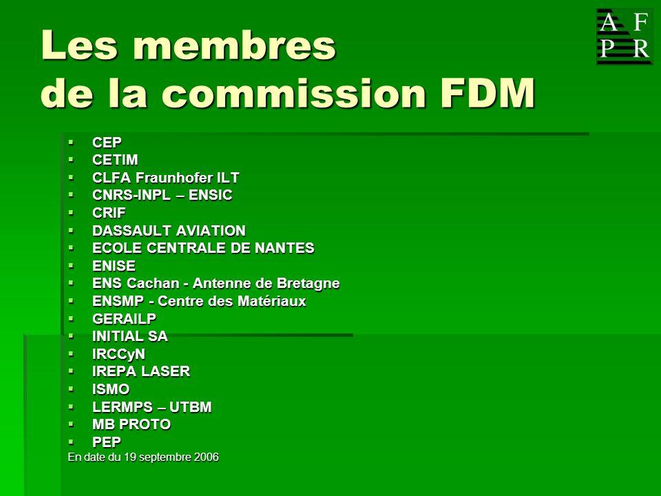 Les membres de la commission FDM CEP CEP CETIM CETIM CLFA Fraunhofer ILT CLFA Fraunhofer ILT CNRS-INPL – ENSIC CNRS-INPL – ENSIC CRIF CRIF DASSAULT AV