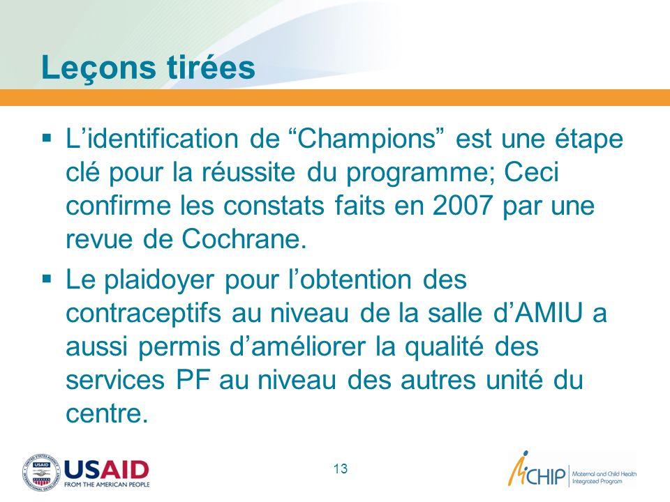 Leçons tirées Lidentification de Champions est une étape clé pour la réussite du programme; Ceci confirme les constats faits en 2007 par une revue de