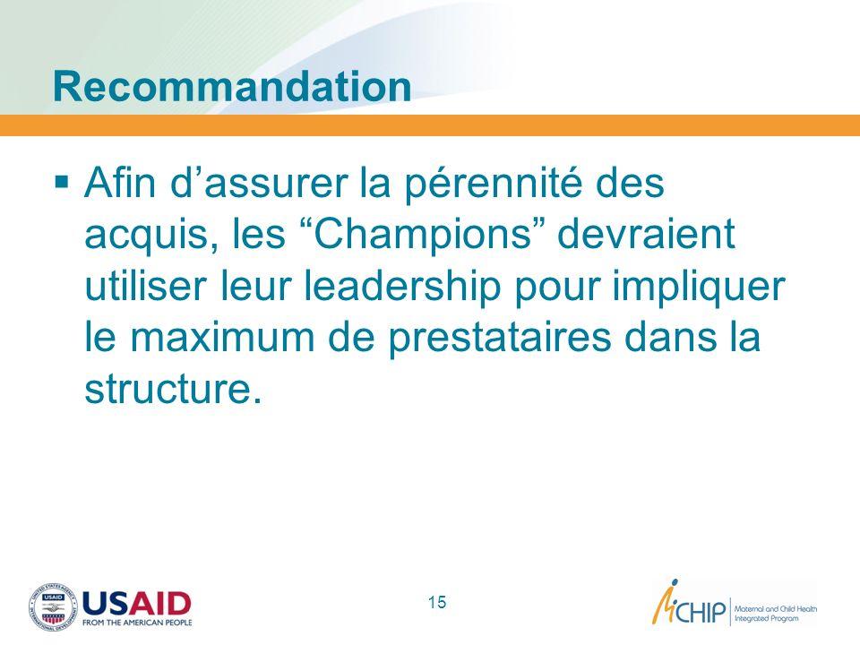 Recommandation Afin dassurer la pérennité des acquis, les Champions devraient utiliser leur leadership pour impliquer le maximum de prestataires dans