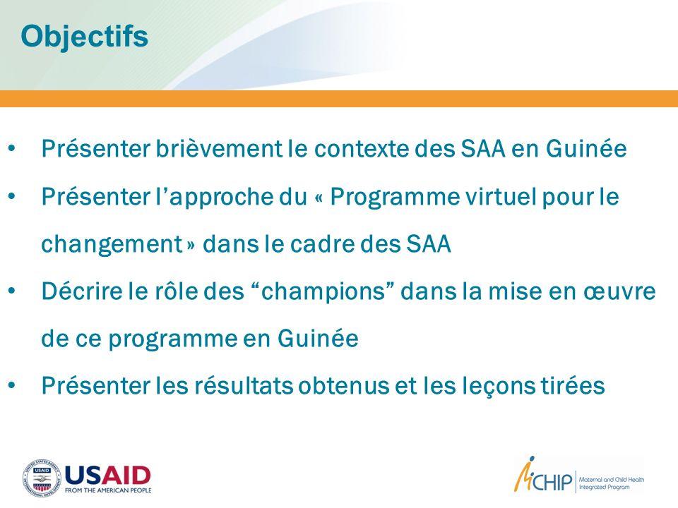 Objectifs Présenter brièvement le contexte des SAA en Guinée Présenter lapproche du « Programme virtuel pour le changement » dans le cadre des SAA Déc