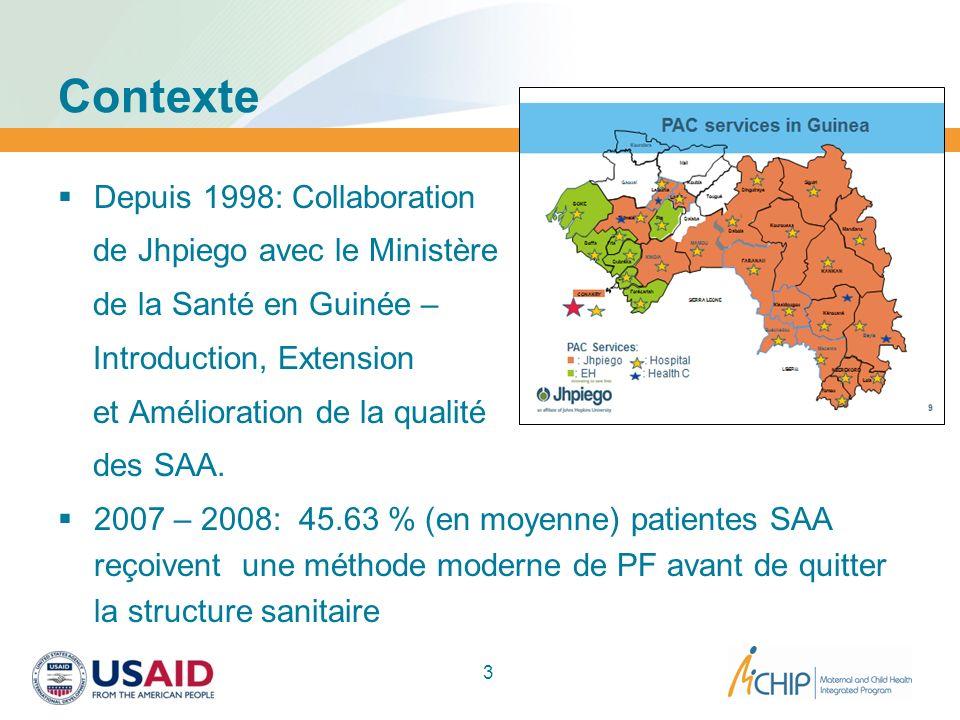 Contexte Depuis 1998: Collaboration de Jhpiego avec le Ministère de la Santé en Guinée – Introduction, Extension et Amélioration de la qualité des SAA