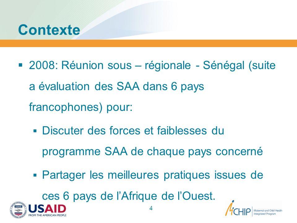 Contexte 2008: Réunion sous – régionale - Sénégal (suite a évaluation des SAA dans 6 pays francophones) pour: Discuter des forces et faiblesses du pro