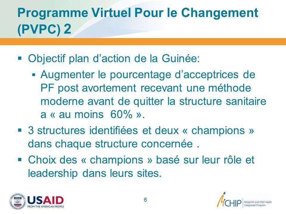 Programme Virtuel Pour le Changement (PVPC) 2 Objectif plan daction de la Guinée: Augmenter le pourcentage dacceptrices de PF post avortement recevant