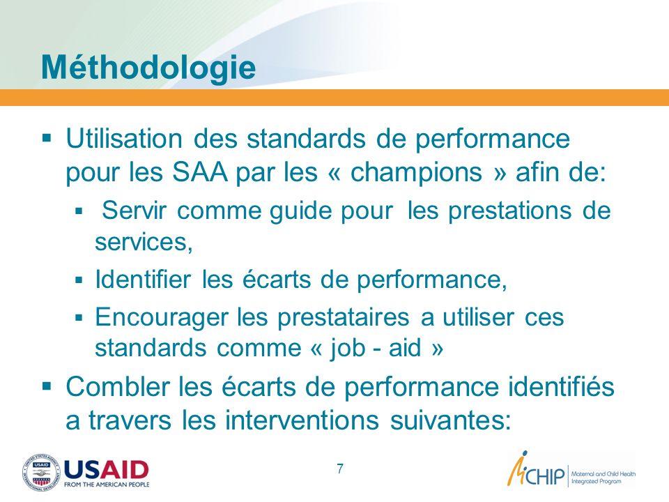 Méthodologie Utilisation des standards de performance pour les SAA par les « champions » afin de: Servir comme guide pour les prestations de services,