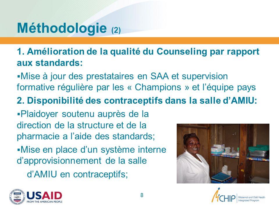 Méthodologie (2) 1. Amélioration de la qualité du Counseling par rapport aux standards: Mise à jour des prestataires en SAA et supervision formative r