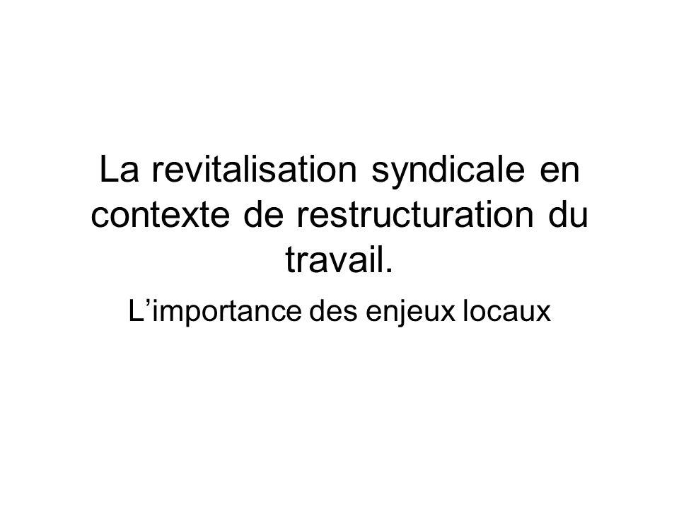 La revitalisation syndicale en contexte de restructuration du travail. Limportance des enjeux locaux