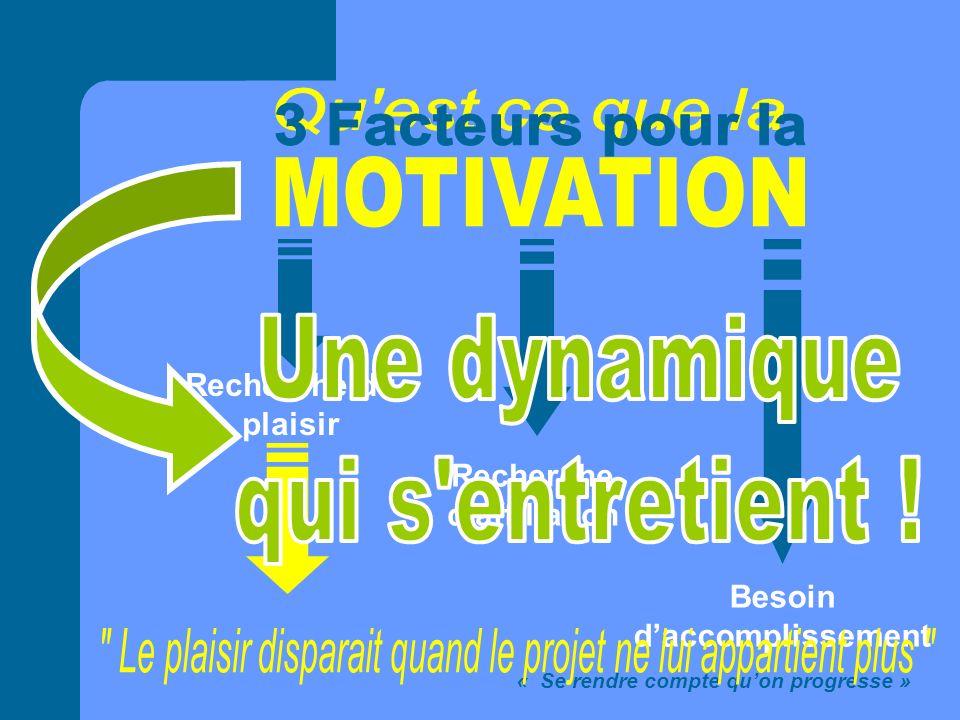 Recherche du plaisir Recherche daffiliation Besoin daccomplissement « Se rendre compte quon progresse »