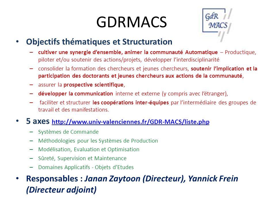 GDRMACS Objectifs thématiques et Structuration – cultiver une synergie densemble, animer la communauté Automatique – Productique, piloter et/ou souten