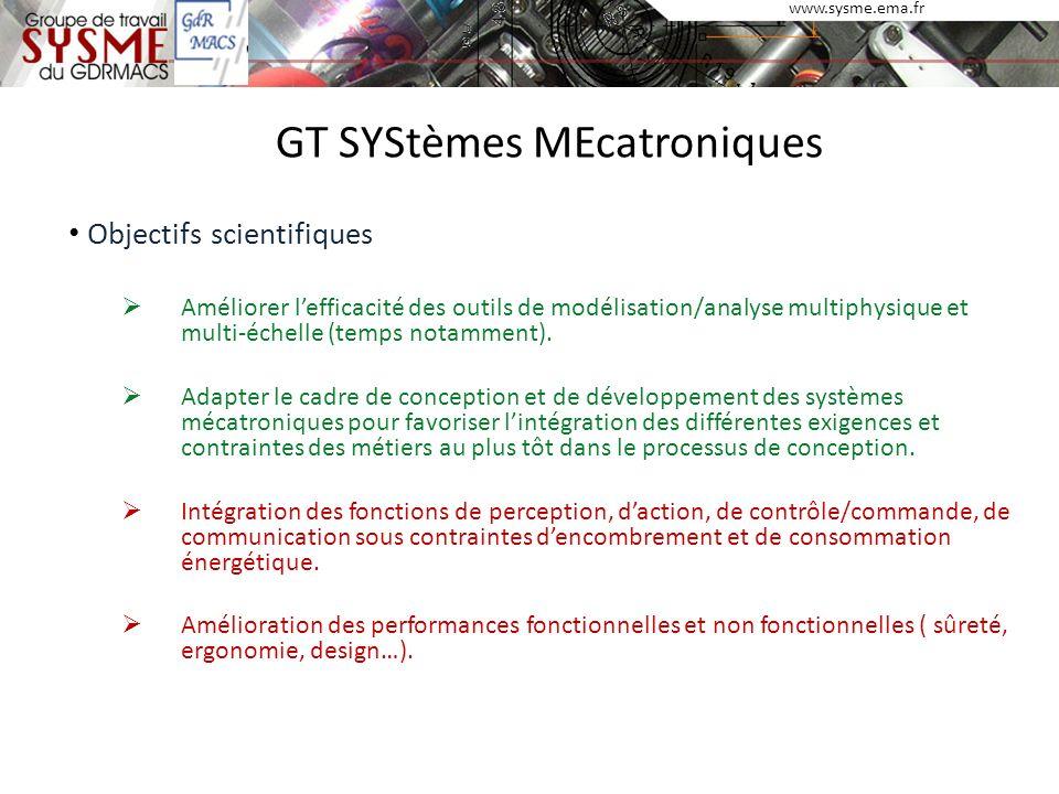 www.sysme.ema.fr GT SYStèmes MEcatroniques Objectifs scientifiques Améliorer lefficacité des outils de modélisation/analyse multiphysique et multi-éch