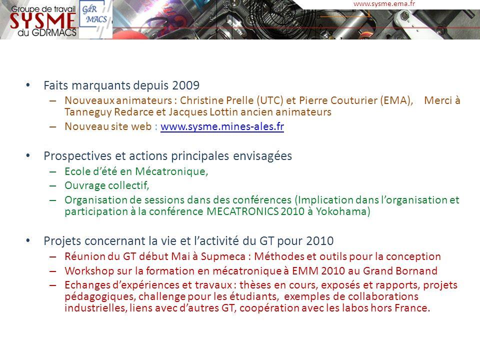 Faits marquants depuis 2009 – Nouveaux animateurs : Christine Prelle (UTC) et Pierre Couturier (EMA), Merci à Tanneguy Redarce et Jacques Lottin ancie