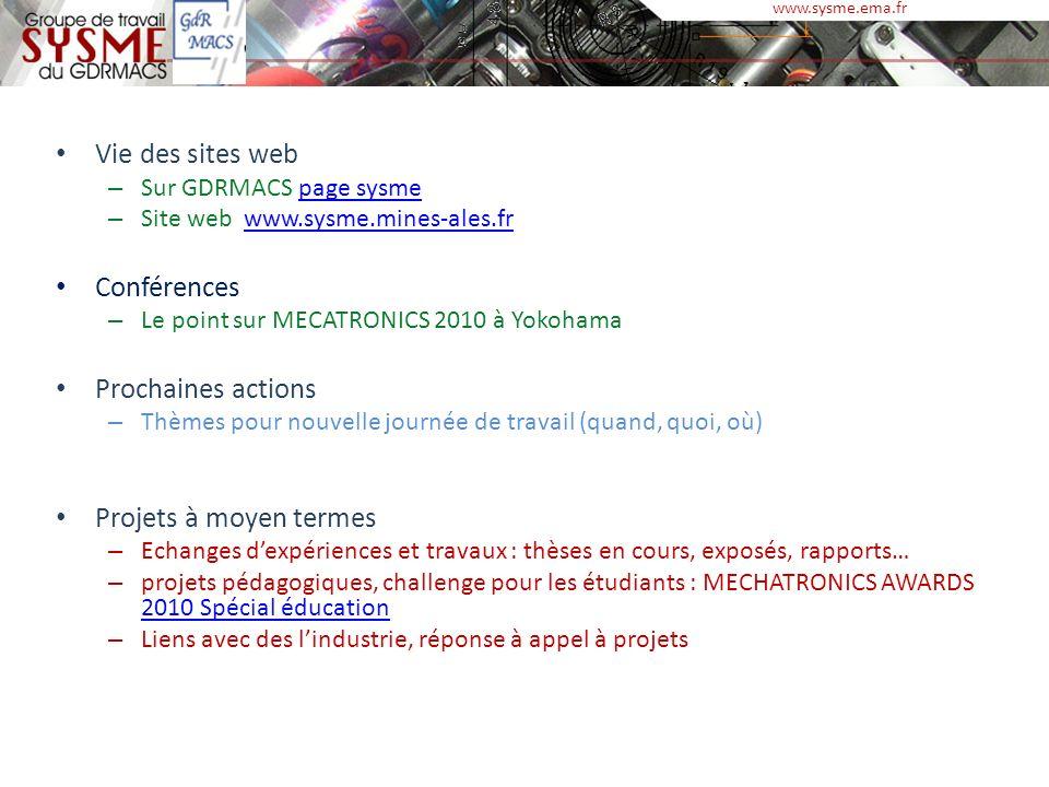 Vie des sites web – Sur GDRMACS page sysmepage sysme – Site web www.sysme.mines-ales.frwww.sysme.mines-ales.fr Conférences – Le point sur MECATRONICS