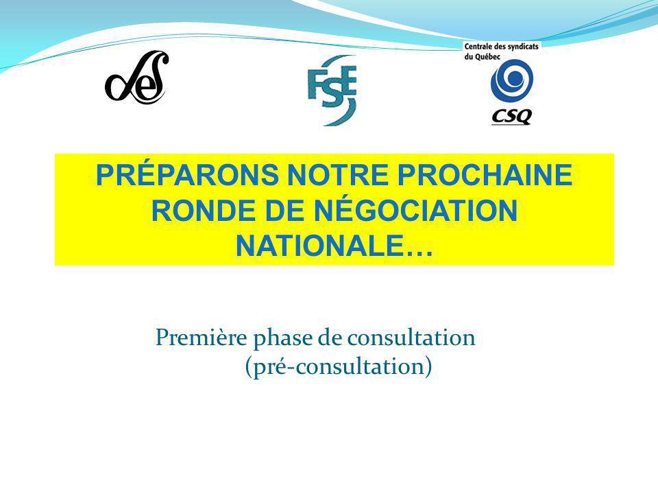 Première phase de consultation (pré-consultation) PRÉPARONS NOTRE PROCHAINE RONDE DE NÉGOCIATION NATIONALE…