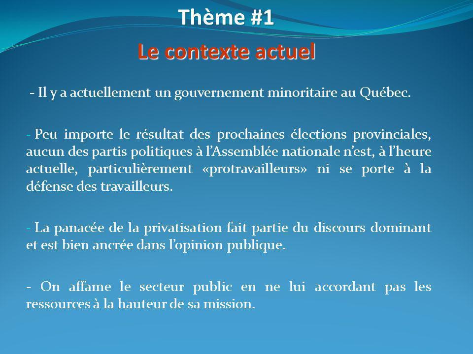 - Il y a actuellement un gouvernement minoritaire au Québec. - Peu importe le résultat des prochaines élections provinciales, aucun des partis politiq