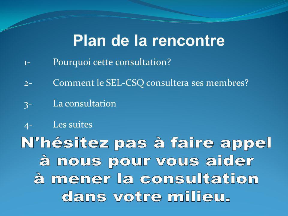 1-Pourquoi cette consultation? 2-Comment le SEL-CSQ consultera ses membres? 3-La consultation 4-Les suites Plan de la rencontre
