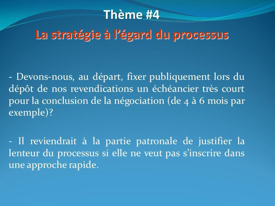 - Devons-nous, au départ, fixer publiquement lors du dépôt de nos revendications un échéancier très court pour la conclusion de la négociation (de 4 à