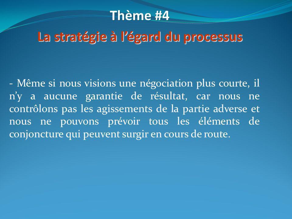 - Même si nous visions une négociation plus courte, il ny a aucune garantie de résultat, car nous ne contrôlons pas les agissements de la partie adver
