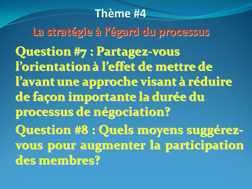Thème #4 La stratégie à légard du processus Question #7 : Partagez-vous lorientation à leffet de mettre de lavant une approche visant à réduire de faç