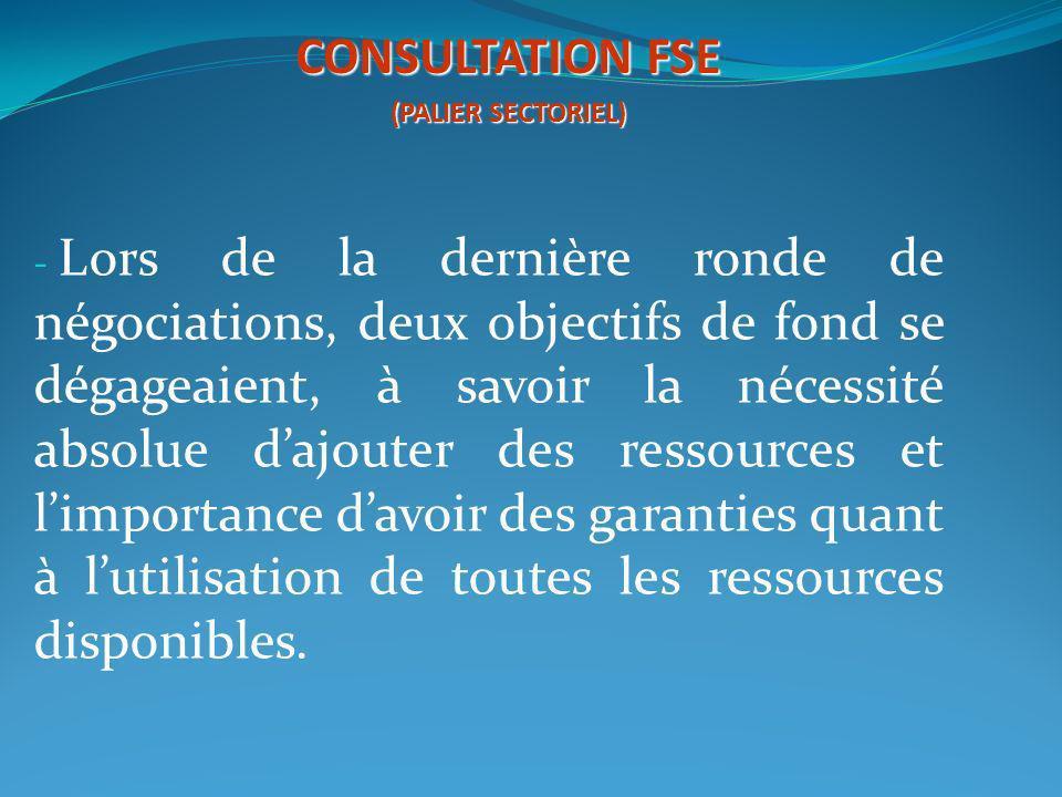 - Lors de la dernière ronde de négociations, deux objectifs de fond se dégageaient, à savoir la nécessité absolue dajouter des ressources et limportan