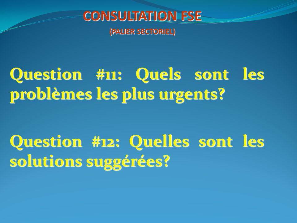 Question #11: Quels sont les problèmes les plus urgents? Question #12: Quelles sont les solutions suggérées? CONSULTATION FSE (PALIER SECTORIEL)