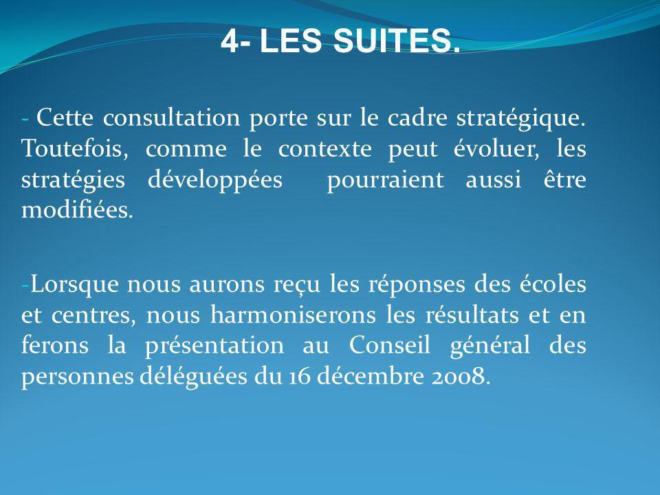 - Cette consultation porte sur le cadre stratégique. Toutefois, comme le contexte peut évoluer, les stratégies développées pourraient aussi être modif