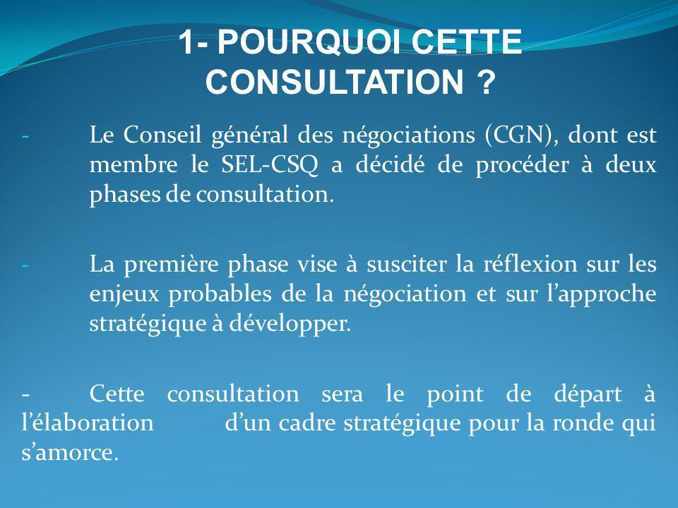 - Le Conseil général des négociations (CGN), dont est membre le SEL-CSQ a décidé de procéder à deux phases de consultation. - La première phase vise à