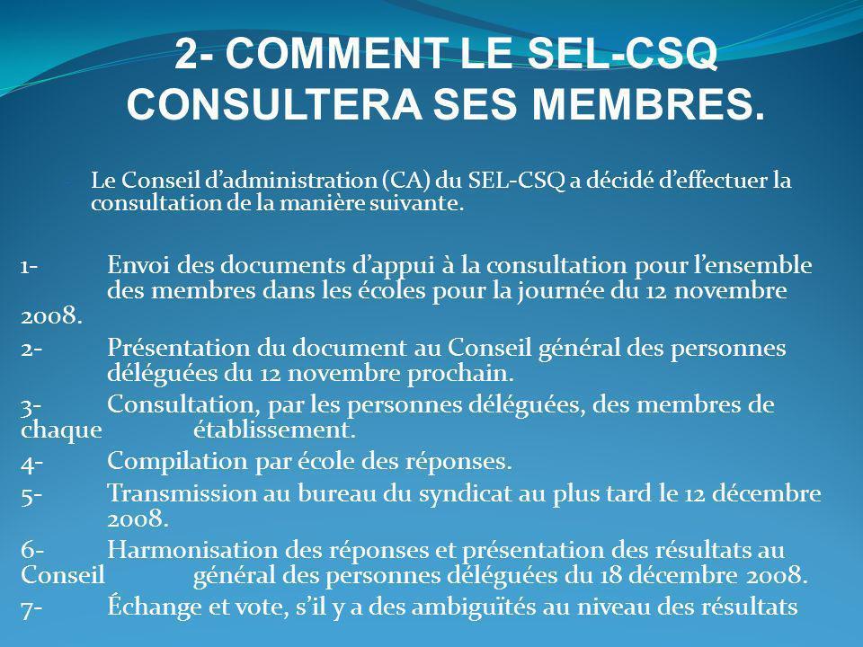 - Le Conseil dadministration (CA) du SEL-CSQ a décidé deffectuer la consultation de la manière suivante. 1-Envoi des documents dappui à la consultatio