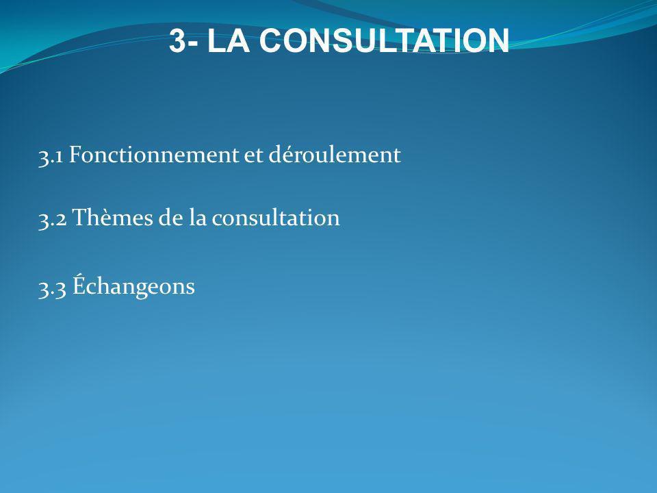 3.1 Fonctionnement et déroulement 3.2 Thèmes de la consultation 3.3 Échangeons 3- LA CONSULTATION