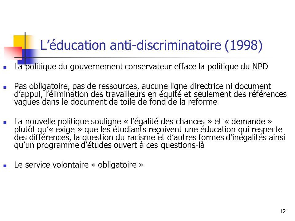 12 Léducation anti-discriminatoire (1998) La politique du gouvernement conservateur efface la politique du NPD Pas obligatoire, pas de ressources, auc