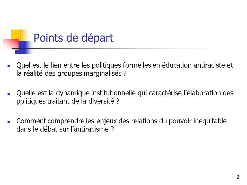 2 Points de départ Quel est le lien entre les politiques formelles en éducation antiraciste et la réalité des groupes marginalisés ? Quelle est la dyn