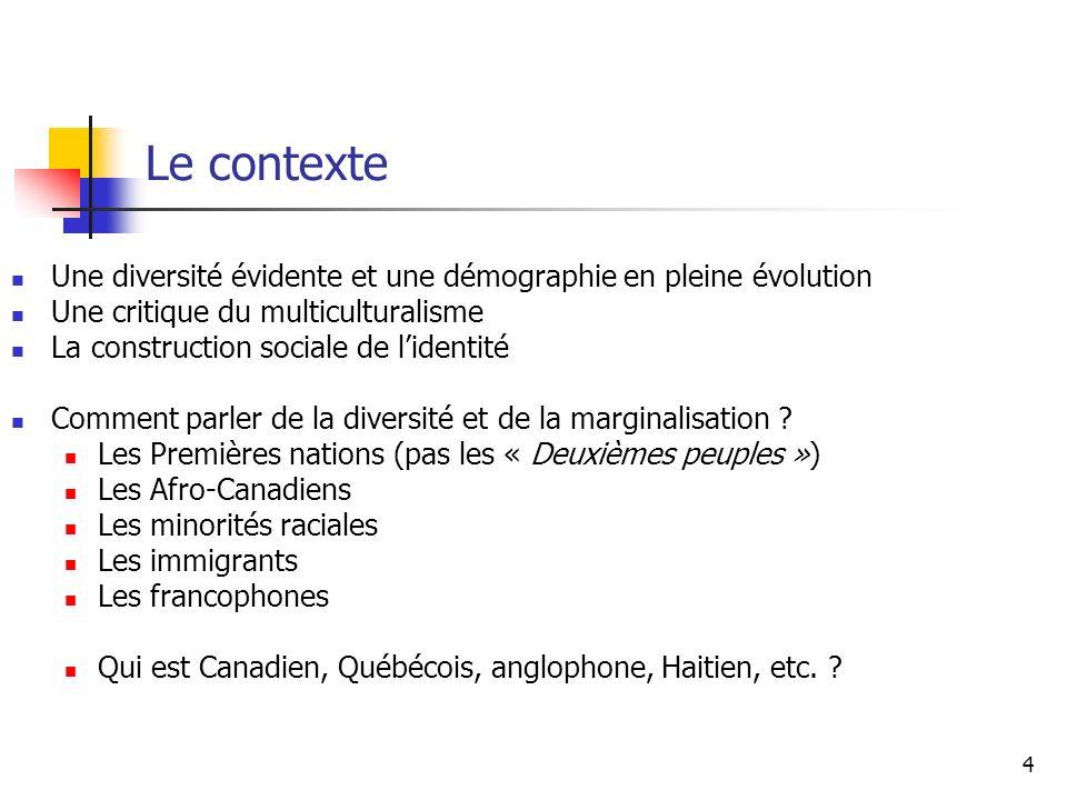 4 Le contexte Une diversité évidente et une démographie en pleine évolution Une critique du multiculturalisme La construction sociale de lidentité Com