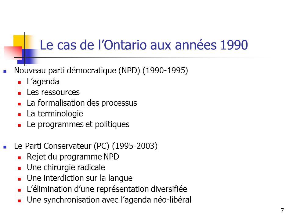 7 Le cas de lOntario aux années 1990 Nouveau parti démocratique (NPD) (1990-1995) Lagenda Les ressources La formalisation des processus La terminologi