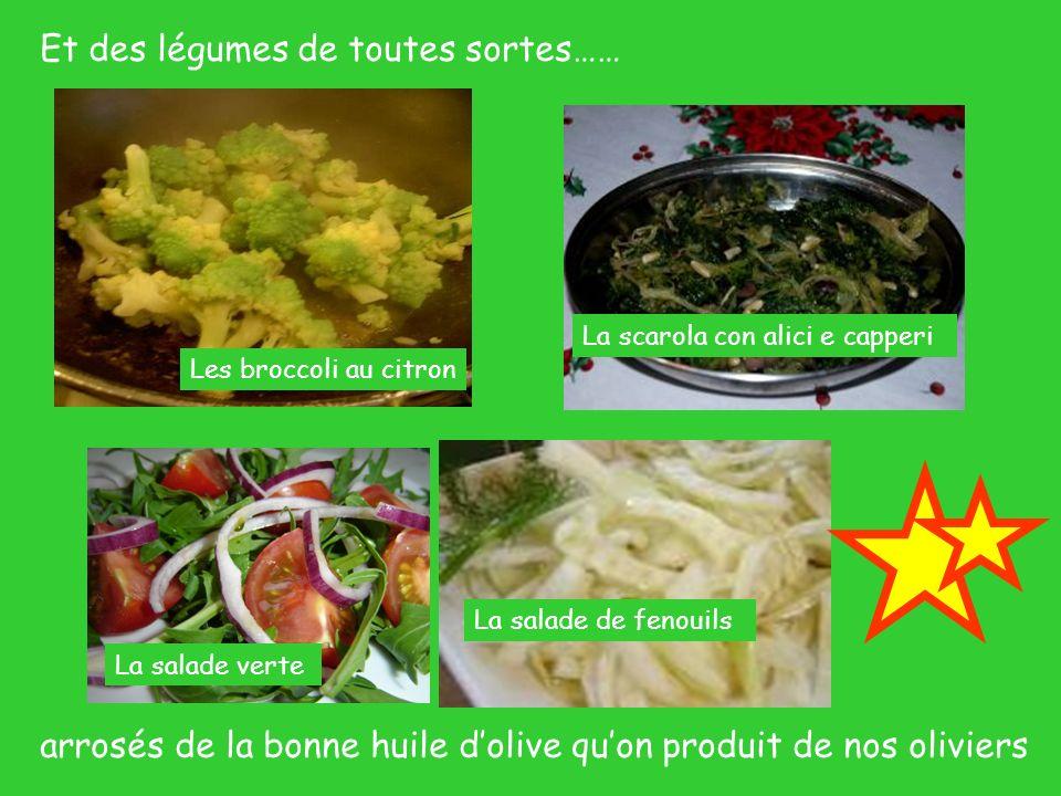 Et des légumes de toutes sortes…… Les broccoli au citron La salade de fenouils La salade verte La scarola con alici e capperi arrosés de la bonne huil
