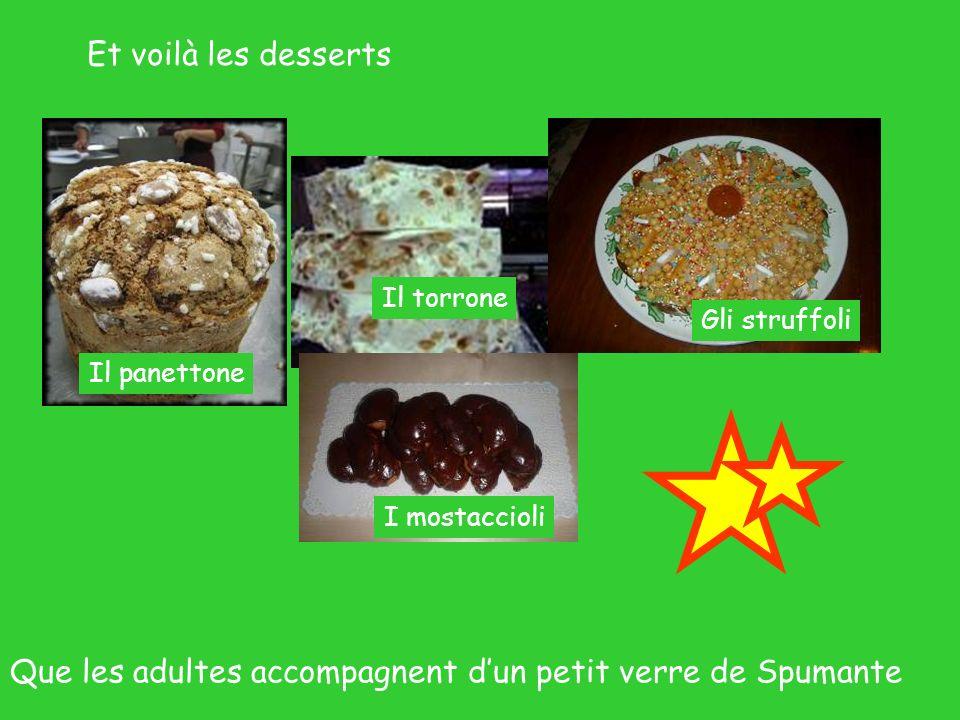 Et voilà les desserts Il torrone Il panettone Gli struffoli Que les adultes accompagnent dun petit verre de Spumante I mostaccioli