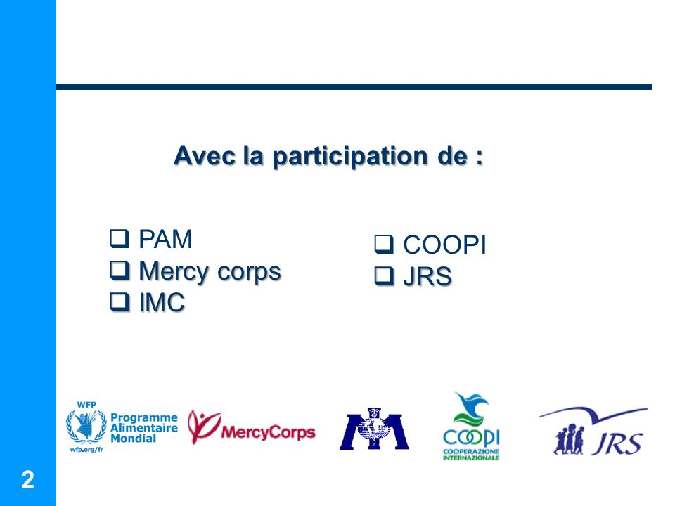 2 Avec la participation de : PAM Mercy corps Mercy corps IMC IMC COOPI JRS JRS