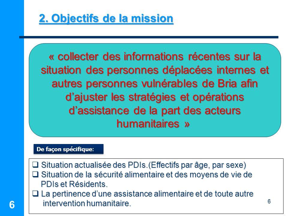 6 6 2. Objectifs de la mission « collecter des informations récentes sur la situation des personnes déplacées internes et autres personnes vulnérables
