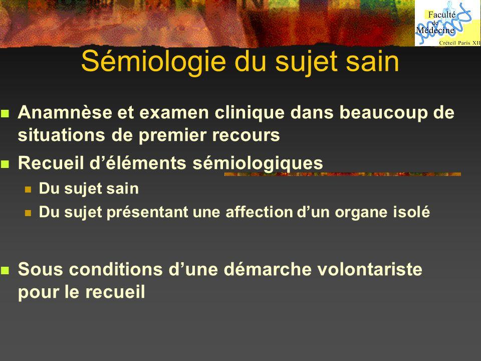 Sémiologie du sujet sain Anamnèse et examen clinique dans beaucoup de situations de premier recours Recueil déléments sémiologiques Du sujet sain Du s